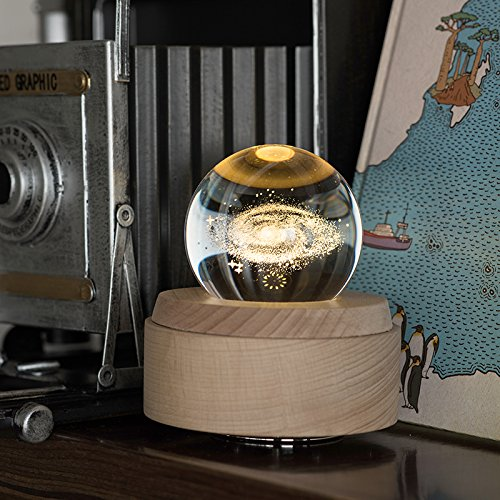 (Apollo Box Night Lamp,Luminous Rotating Crystal Ball Music Box with Projection Light and Wood Base, Great Gift for Father's Day, Christmas/Birthday/Valentine's Day, The Starry Night)