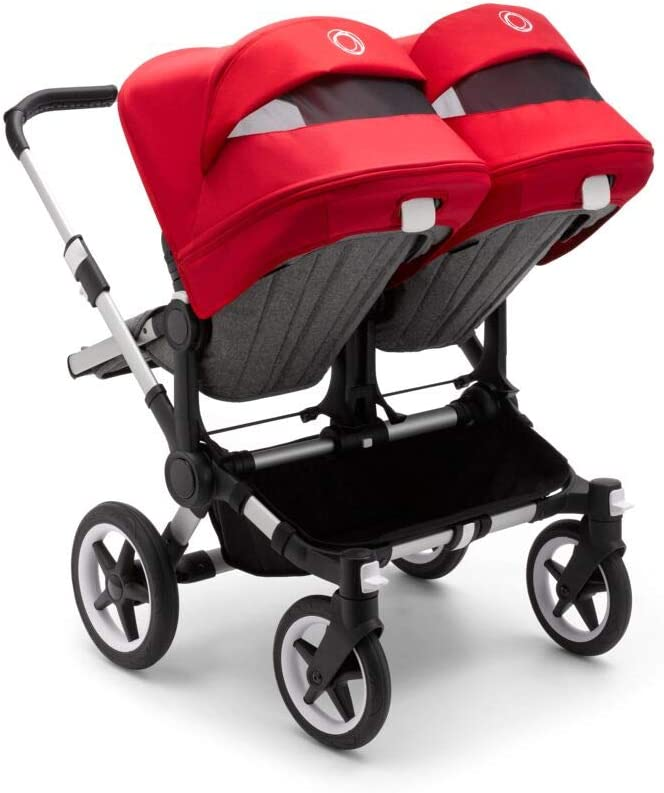 Turn your Mono into a Double Stroller Bugaboo Donkey3 Duo Extension Set Complete Grey//Red Fabric