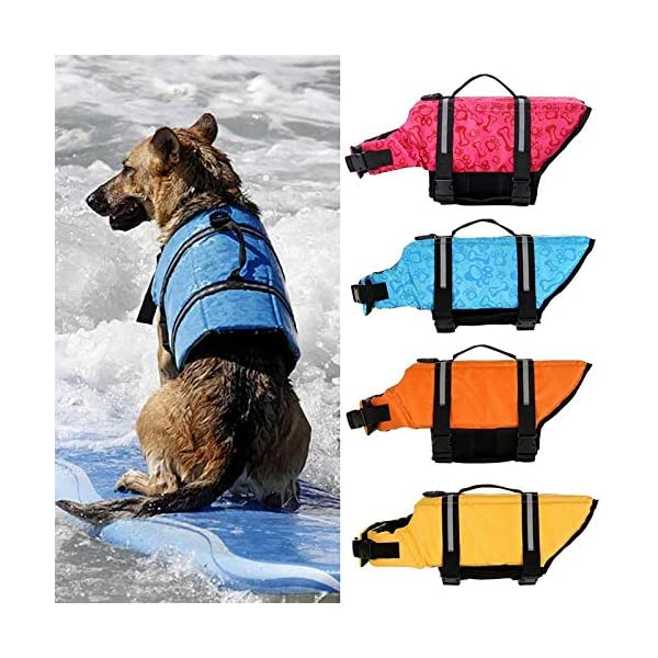 L Yellow Pet Dog Life Jacket Bones Patterns Safety Clothes Life Vest Harness Saver Pet Dog Swimming Preserver Clothes… Click on image for further info. 2