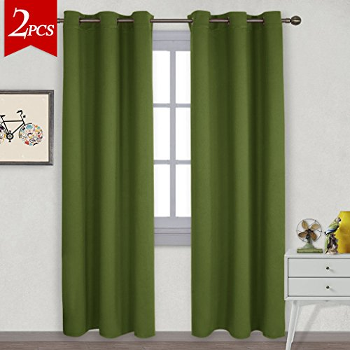 NICETOWN Thermal Insulated Solid Grommet Blackout Curtains / Drape for Livingroom (One Pair,42 by 84-Inch,Olive Green) (Curtains Black Green)