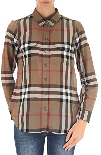 Burberry Women Shirt (BURBERRY Taupe Brown Women's Check Cotton Shirt (Large))