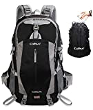 Colisal 40L Hiking Backpack Waterproof Trekking Rucksack with Rain Cover and Hydration Daypack Women Men Camping Cycling Traveling Climbing Running Walking Sport Outdoor Large Black