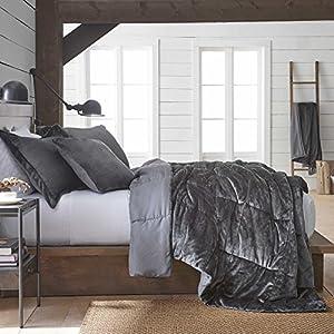 Vellux Plush/Microfiber Comforter Set, Full/Queen, Grey, 3 Piece