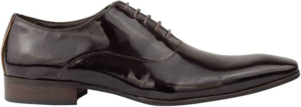 Mens Real Patent Leather Brown Oxford Wedding Dress Shoes 6.5 7 8 9 10 11 11.5