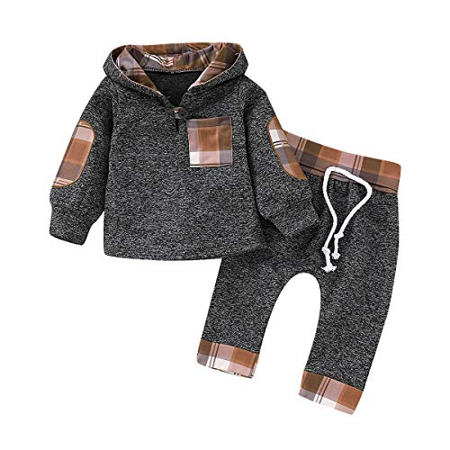 Christmas Toddler Baby Boy Girl Clothes Plaid Pocket Hoodie Sweatshirt+Pants Xmas Outfits Set