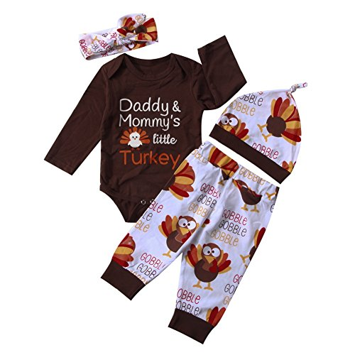 Baby Boy Girl Thanksgiving Outfit Letters Print Bodysuit+Turkey Pants and Hat Headband Clothes Set (0-6 Months, Brown(4Pcs))