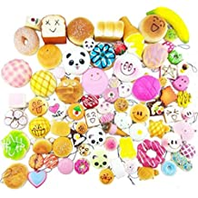 Huastyle Random 20pcs Jumbo Medium Mini Slow Rising Kawaii Squishy Cake/Panda/Bread/Buns Phone Straps