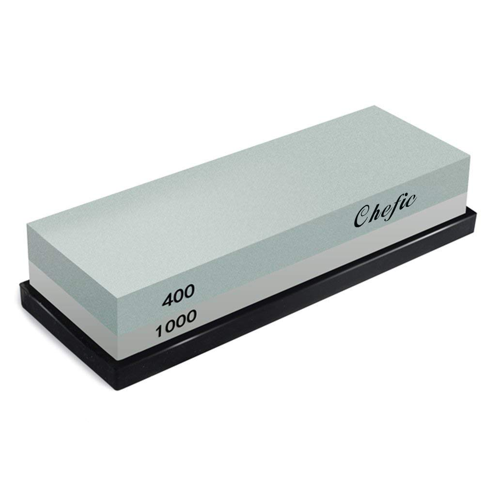 Whetstone, Chefic 2-IN-1 Sharpening Stone 400/1000 Grit Waterstones, BearMoo Knife Sharpener Rubber Stone Holder Included by Chefic