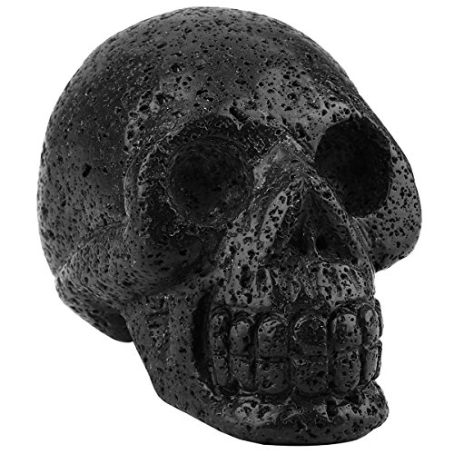 mookaitedecor 3 Inch Lava Rock Crystal Skull Sculpture Carved Statue Healing Reiki Gemstone Collectible Figurines ()