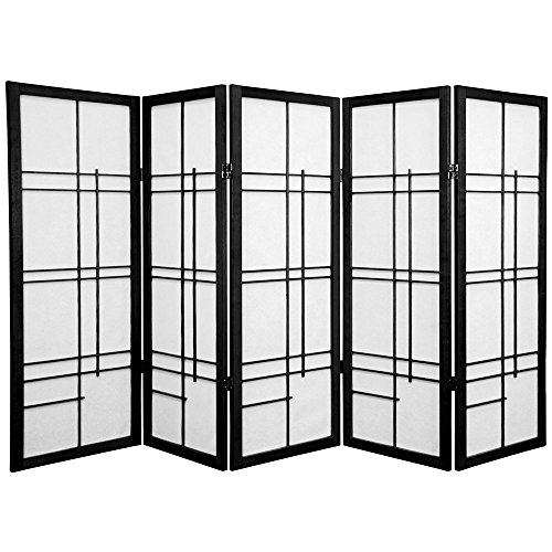 Oriental Furniture 4 ft. Tall Eudes Shoji Screen - Black - 5 Panels