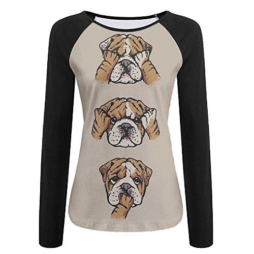 MAMAC Cute Pit Bull Women's T-Shirt Funny Design Long Sleeve Tee ()