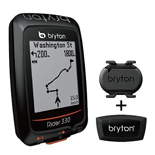 """Bryton Rider 330 GPS Cycling Computer (1.8"""" Display, 330T - with Smart Cadence + Smart HRM)"""