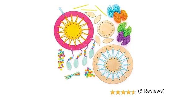 Baker Ross Kit para dise/ñar atrapasue/ños con hilo de colores y plumas que los ni/ños pueden crear y decorar . pack de 6