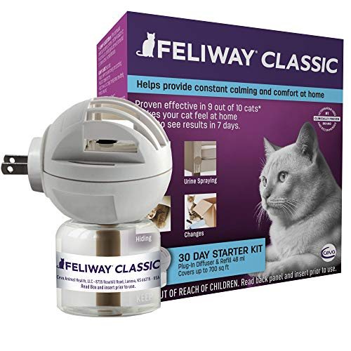 Feliway Classic Cat Calming Diffuser Kit for Cats (30 Day Starter Kit) – Reduce Problem Scratching, Spraying, and Hiding