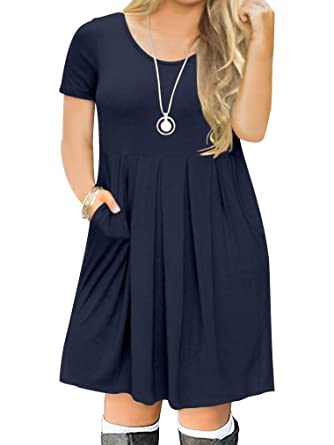 b4f6ad117b8 POSESHE Women's Plus Size Short Sleeve Casual T-Shirt Swing Dress with  Pockets (0