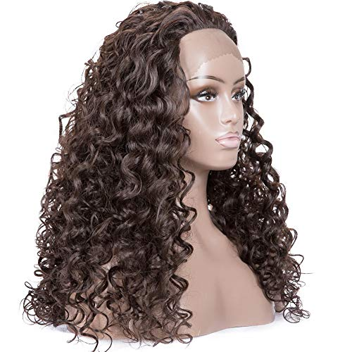 Armmu 24inch Long Deep Curly Water Wave Lace Front Wigs for Women 100% Synthetic Hair Dark Brown Full Wigs Natural Hairline Free Part#4