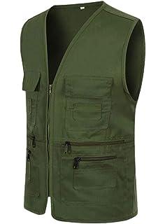 Wofupowga Men Journalist Casual Fish Denim Multi Pockets Big and Tall Vest
