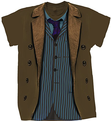 Doctor Who Classic Mens T-Shirt 10Th Doctor Costume Sound Of Drums Chestnut L