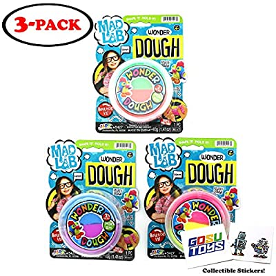 Dr. Wacko Shapeable Bouncy Wonder Dough Putty Fluffy Slime (3 Packs Assorted Colors): Toys & Games