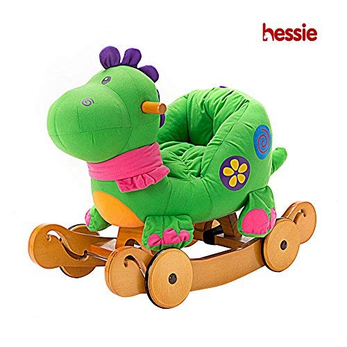 Baby Rocking Horse, Dual-use Dinosaur Wooden Rocker Ride On, Toddler Rocking Horse with Wheel, Plush Rocking Horse Ages 1-3