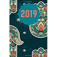 """2019: Daily Planner - Two days per page - Beautiful Hamsa design - 6""""x9"""" compact size. Premium materials!"""