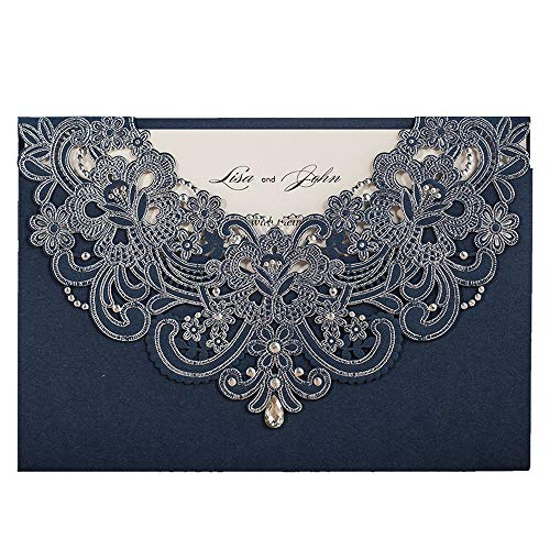 (WISHMADE Navy Blue Laser Cut Wedding Invitations Cards with Flora Lace Rhinestone 50X Blank for Birthday Baby Shower Engagement Wedding invites (Set of 50pcs))