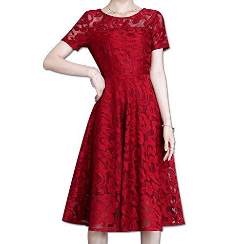 modello donna rosso donna da di dimensioni lungo abito da sottile medio Abito GZZ pizzo grandi abito in wxgXaXqp7