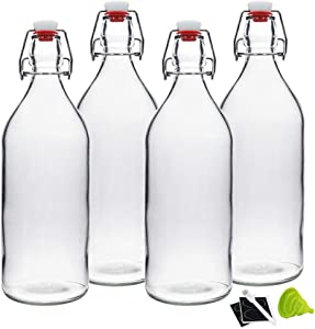 32oz Clear Swing Top Bottles -Glass Beer Bottle with Airtight Rubber Seal Flip Caps for Home Brewing Kombucha,Beverages,Oil,Vinegar,Water,Soda,Kefir (4 Pack)