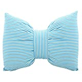 Handmade Home Stripes Cotton and Linen Bowknot Pillow Sofa Cushion (M, Blue)