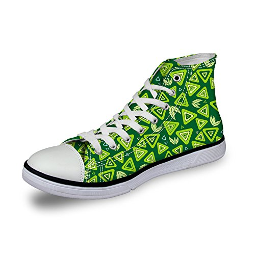 Bigcardesigns Cute Stats Casual High Top Canvas Sneakers Skate Shoes For Girls Triangles Green KTHB9