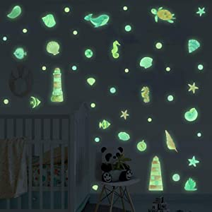 IARTTOP Colorful Marine Theme Glowing Wall Decal,Luminous Ocean Animals Shark Tortoise Seahorse Starfish Wall Sticker for Kids Bedroom Nursery Decor, Undersea Life Party Decoration