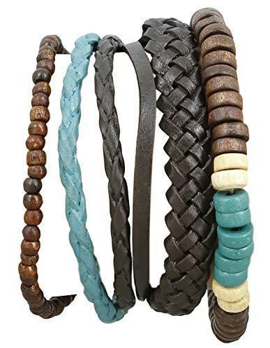 Indian Leather Rope Colorful Bead Bracelet for Men Handmade - Bracelets Men Indian Beaded For