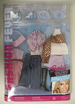 K2888 Barbie Fashion Fever Hilary Duff Closet With White Camisole & A Lavender & Light Pink Print Jacket, Blue Jeans & Other Outfits And Accessories by Barbie