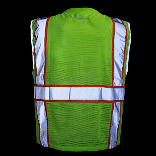 RK Safety P6612 Class 2 High Visible Two Tone Reflective Strips Breathable Mesh Vest, Pockets Harness D-Ring Pass Thru, ANSI/ISEA, Construction Motorcycle Traffic Emergency (Lime, Medium) by New York Hi-Viz Workwear (Image #7)