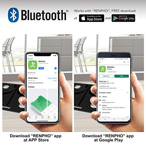 RENPHO Bluetooth Body Fat Smart Scale USB Rechargeable Digital Bathroom Weight Scale Body Fat Monitor with Smatrphone App, 396 lbs by RENPHO (Image #4)