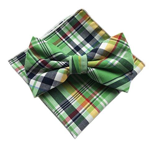 Elfeves Men's Green Silk Suit Dress Bow Ties Set Self Cravat Friendly Neckties