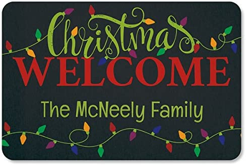 Lillian Vernon Holiday Lights Personalized Christmas Doormat – Custom 18 x 27 Non-Skid Rubber Back Polyester Floormat, Christmas Welcome Mat
