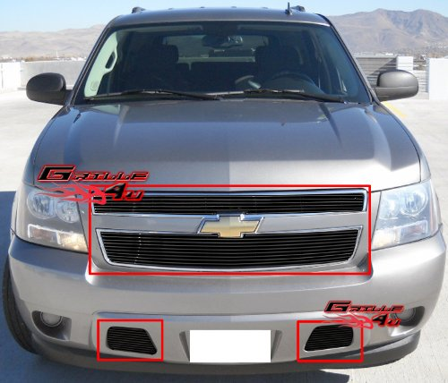 APS 2007-2014 Chevy Tahoe/Suburban/Avalanche Black Billet Grille Grill Combo #S18-H91976C ()