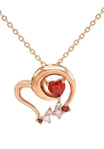 Amazon simulated garnet heart pendant necklace 14k rose gold simulated garnet heart pendant necklace 14k rose gold over sterling silver mozeypictures Images
