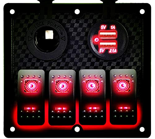 DCFlat 5 Pin 4 Gang / 6 Gang Car Marine Boat Circuit RV LED Rocker Switch Panel Breaker Voltmeter USB for RV Car Boat Blue / Red / Green Light (4 Gang Red)