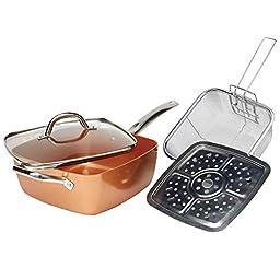 Tayama Induction Square Pan, Medium, Copper