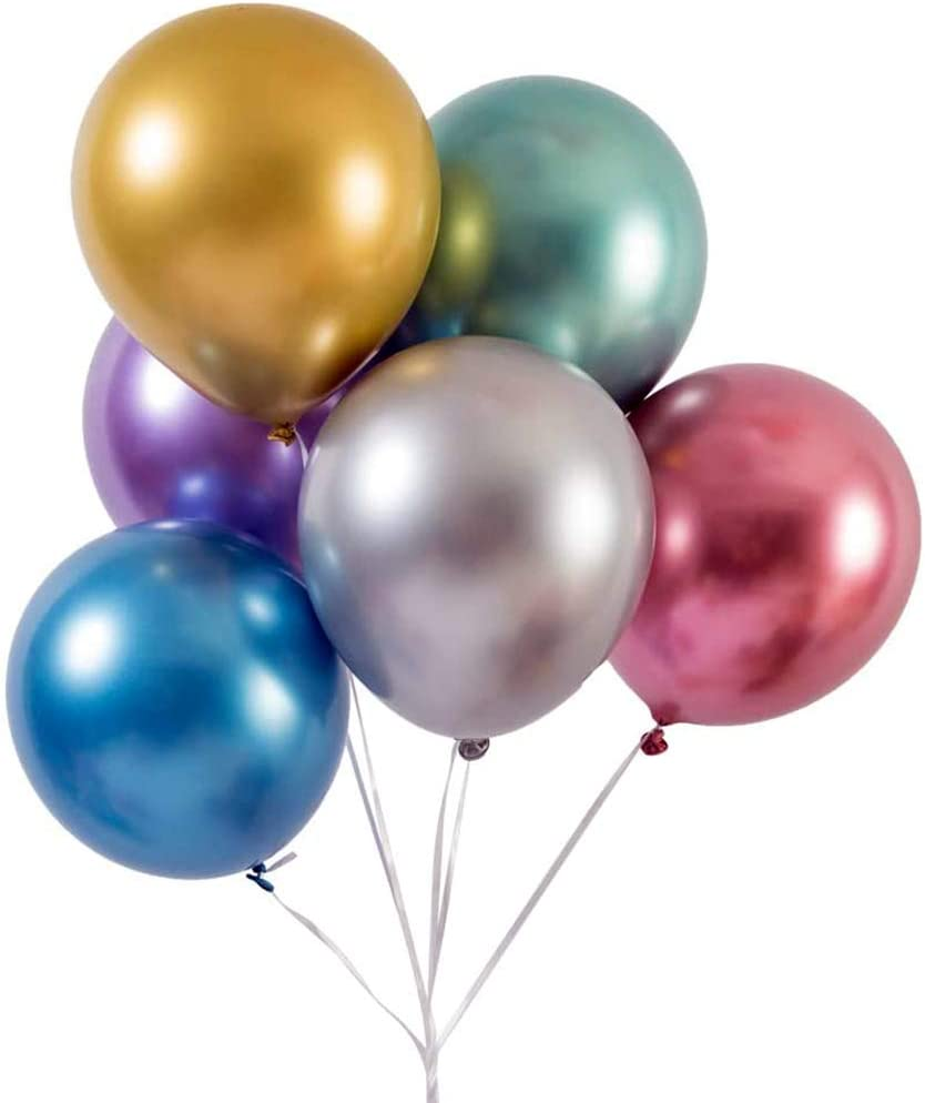 Party Balloons 12 inch 50 pcs Latex Metallic Chrome Balloon Shiny Thicken Balloon for Wedding Graduation Birthday Baby Shower Christmas Valentine/'s Day Party Supplies Navy Blue
