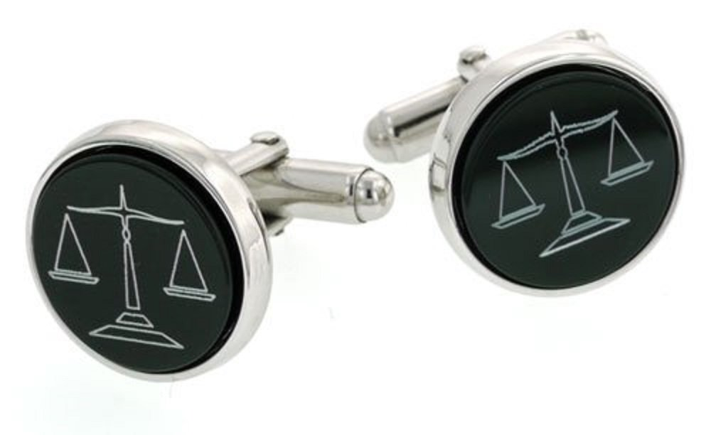 JJ Weston Sterling Silver Onyx Etched Lawyer Cufflinks. Made in the USA.