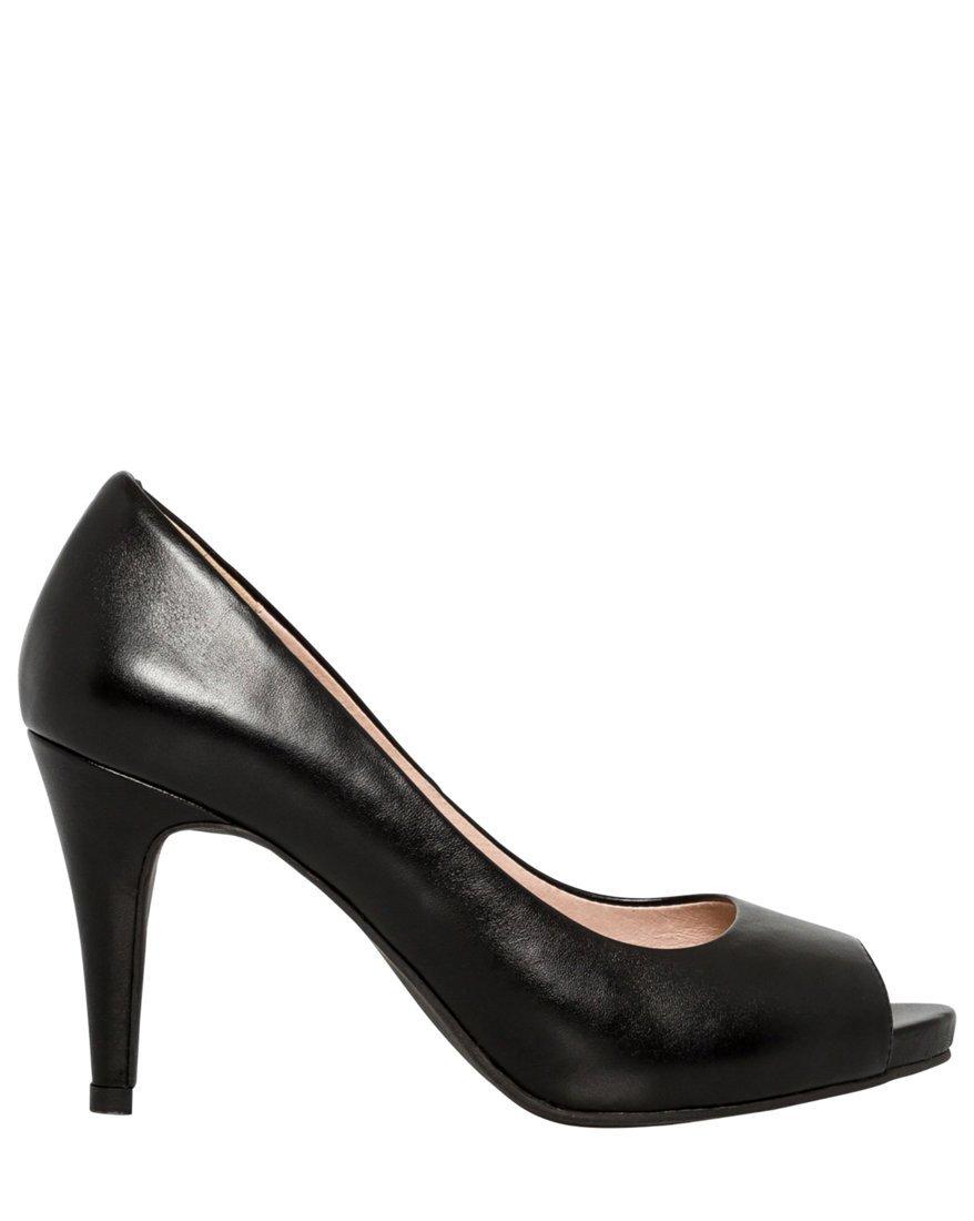 LE CHÂTEAU Women's Leather Peep Toe Platform Pump,8.5,Black