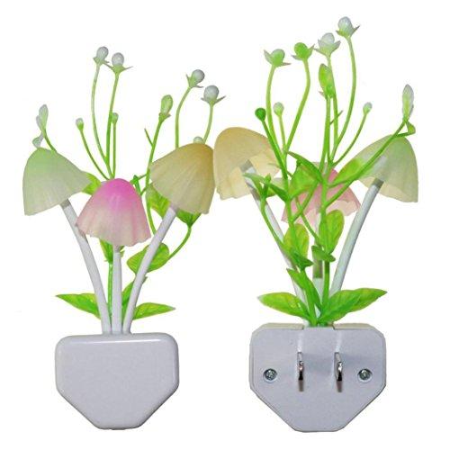 SHJNHAN Night Light Romantic Colorful Sensor LED Mushroom Wall Lamp Home Decor