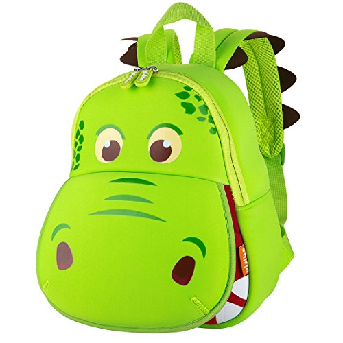 YISIBO Waterproof Kids Backpack 3D Dinosaur Cartoon School Hiking Sidesick Bags Boys Green