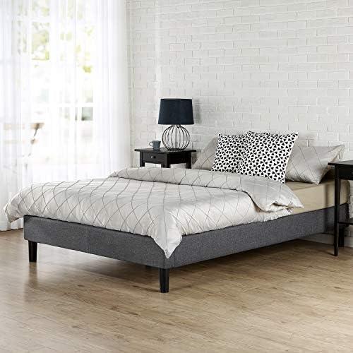 Zinus Bastidor para cama de plataforma tapizado esencial Curtis, Sin necesidad de usar un somier, Sólido soporte de listones de madera, Fácil montaje, ...