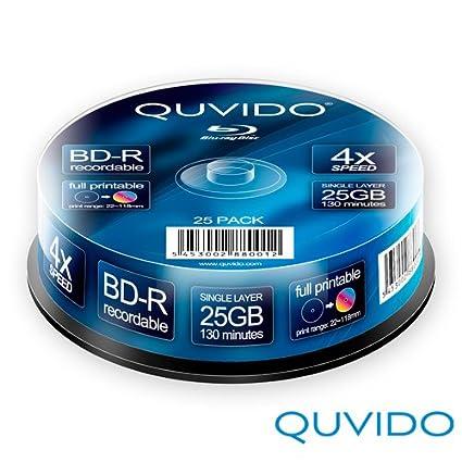 QUVIDO - 25 BD-R 25 GB 4 x Full Printable en Eje//Ritek ...