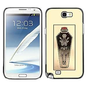 Ataúd Arte Cráneo amarillo Sketch Poción- Metal de aluminio y de plástico duro Caja del teléfono - Negro - Samsung Note 2 N7100