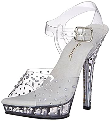 Fabulicious Women's Lip 108RS Dress Sandal, Clear, 5 M US